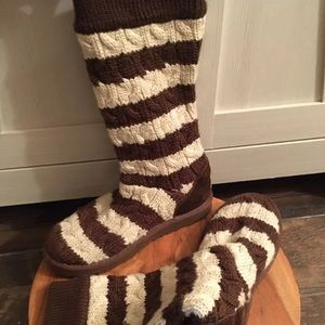 UGG beige & brown striped sweater boots 7